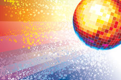Disco ball. Mirror disco ball over a background of colored spots stock illustration