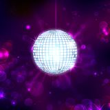 Disco Ball on Musical Background. Illustration of glittery disco ball on abstract background royalty free illustration