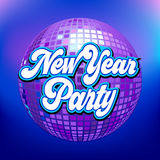 Disco ball. With New Year Party text stock illustration