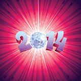 Disco Ball 2014. 2014 New Year Disco Ball with reflections vector illustration