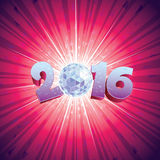 Disco Ball 2016. 2016 New Year Disco Ball with reflections royalty free illustration