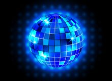 Disco ball night party blue lights background Stock Image