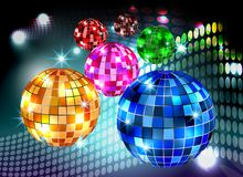 Disco ball night party colorful lights background.  vector illustration