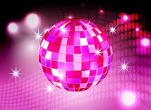 Disco ball night party pink lights background.  stock illustration