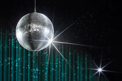 Disco ball nightclub. Party disco ball with stars in nightclub with striped turquoise and black walls lit by spotlight, nightlife entertainment industry Stock Images