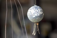 Disco ball, old, hanging, made of foam stock images