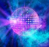 Disco ball outer space background. Vector illustration of disco ball with star shapes on outer space background Stock Photo