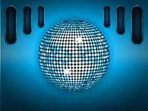 Disco ball over blue brushed metallic panel Stock Photography