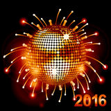 Disco ball over fireworks 2016. Festive Disco Ball Over Fireworks Background with 2016 Royalty Free Stock Images