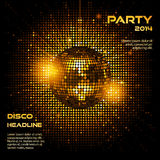 Disco ball party background ai. Disco ball bacground in glowing gold on a mosaic bacground and sample text Royalty Free Stock Photos