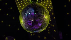 Disco ball at party. On black background. 4k uhd stock video