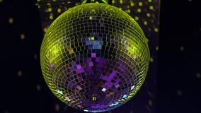 Disco ball at party. On black background. 4k uhd stock footage