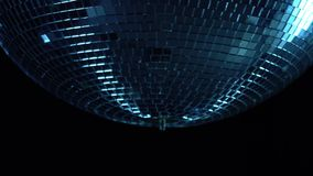 Disco ball party in a nightclub. Black background . Close up stock video