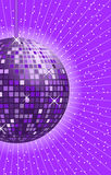 Disco ball purple. Disco ball in shades of purple and lilac with rays in the background stock illustration