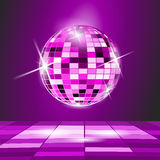 Disco ball. Purple Party background, disco ball Royalty Free Stock Photos