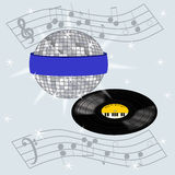 Disco Ball and Record Design Royalty Free Stock Images
