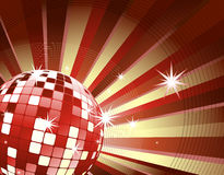 Disco ball on red light burst and glitter stars Royalty Free Stock Photo