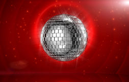 Disco ball in red stage Stock Photography