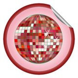 Disco ball red sticker Royalty Free Stock Photography