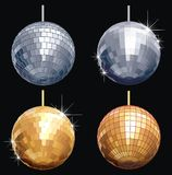 Disco-ball set. Available EPS-8, vector formats separate layers and groups: mirrors, frames, stars and background. No gradients, no transparency Stock Photos