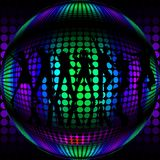 Disco Ball with silhouette dancers. A colorful metallic disco ball with silhouette dancers that are perfect for use in a party scene or disco dance celebration Royalty Free Stock Photos