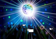 Disco ball of silhouettes background people Stock Images