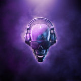 Disco ball skull. 3D illustration of skull shaped disco mirror ball with headphones and shaded glasses Royalty Free Stock Photos