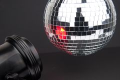 Disco ball with small mirrors on dark background Royalty Free Stock Photography
