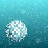 Disco ball snowflake. Disco ball on snowflake background Stock Images