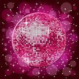 Disco ball. Sparkling disco ball in pink vector illustration
