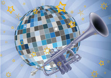 Disco ball trumpet and music Stock Photography
