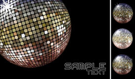 Disco ball vector. Collection of dicoballs isolated on black background and retro party background sample whith disco ball, in vector format only solid colors Stock Photos