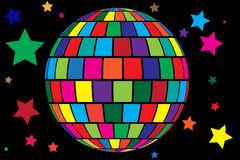 Disco ball vector background. Colorful cartoon style vector background with disco ball and stars Vector Illustration