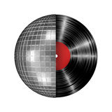 Disco ball vinyl record. 3D render of disco ball and vinyl record Stock Image
