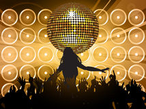 Disco ball with wall speakers and shilouette Royalty Free Stock Photo