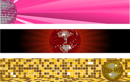 Disco ball web banners Royalty Free Stock Photography