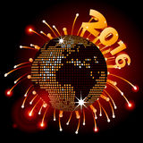 Disco ball world map 2016 and fireworks Royalty Free Stock Image