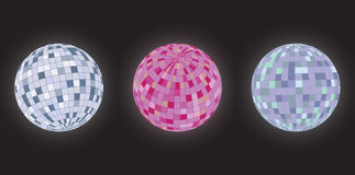 Disco balls. Different perspectives and colour spectrum stock illustration