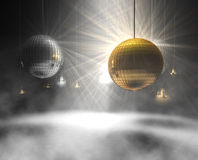 Disco balls. 3d rendering of gold and silver glittering disco balls Stock Image