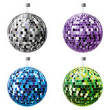 Disco balls. The four disco balls, black, purple, blue and green on a white background Stock Images