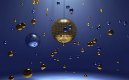 Disco balls. 3d disco balls in blue lights Stock Photo