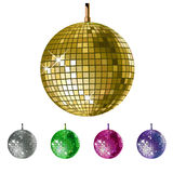 Disco balls. Vector disco balls (5 colours Stock Photo