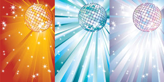 Disco balls against the beams. Royalty Free Stock Images