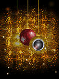 Disco balls baubles with speaker over golden wall tiles Royalty Free Stock Images