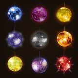 Disco balls discotheque dance music party equipment vector illustration of party night club dance Stock Photos