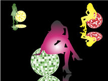 Disco balls and girls. I made silhouettes from my photos Royalty Free Stock Photography