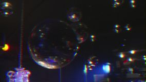 Disco balls with shot with prism blur effect stock footage