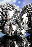Disco Balls, sound waves and Music background Stock Photos