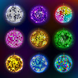 Disco balls vector illustration of discotheque dance and music party equipment round shiny entertainment. Stock Images