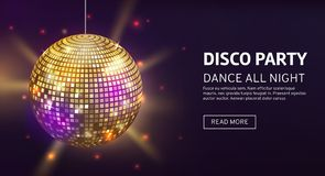 Disco banner. Mirrorball party disco ball invitation card celebration fashion partying poster template dance club stock illustration